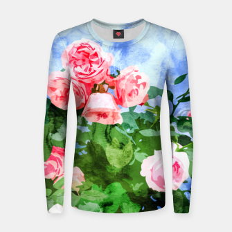Thumbnail image of Sweet Rose Garden, Nature Botanical Watercolor Painting, Summer Floral Plants Meadow Women sweater, Live Heroes