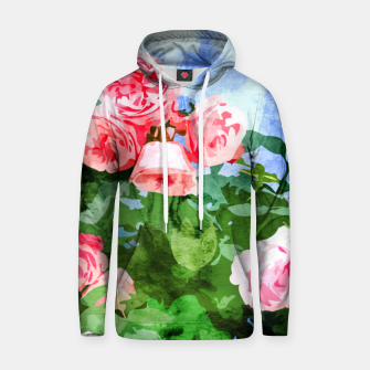 Thumbnail image of Sweet Rose Garden, Nature Botanical Watercolor Painting, Summer Floral Plants Meadow Hoodie, Live Heroes
