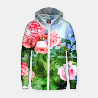 Thumbnail image of Sweet Rose Garden, Nature Botanical Watercolor Painting, Summer Floral Plants Meadow Zip up hoodie, Live Heroes
