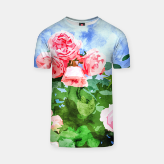 Thumbnail image of Sweet Rose Garden, Nature Botanical Watercolor Painting, Summer Floral Plants Meadow T-shirt, Live Heroes