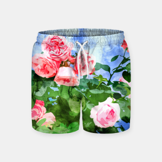 Thumbnail image of Sweet Rose Garden, Nature Botanical Watercolor Painting, Summer Floral Plants Meadow Swim Shorts, Live Heroes
