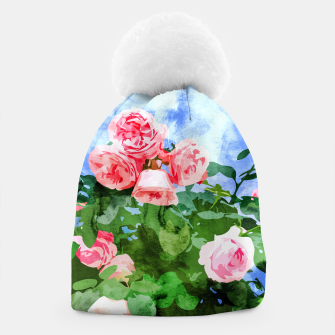 Thumbnail image of Sweet Rose Garden, Nature Botanical Watercolor Painting, Summer Floral Plants Meadow Beanie, Live Heroes