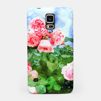Thumbnail image of Sweet Rose Garden, Nature Botanical Watercolor Painting, Summer Floral Plants Meadow Samsung Case, Live Heroes