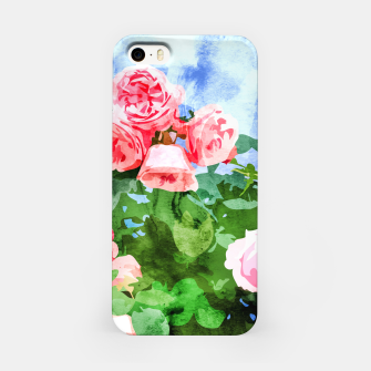 Thumbnail image of Sweet Rose Garden, Nature Botanical Watercolor Painting, Summer Floral Plants Meadow iPhone Case, Live Heroes