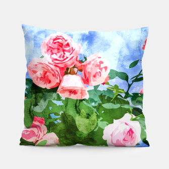Thumbnail image of Sweet Rose Garden, Nature Botanical Watercolor Painting, Summer Floral Plants Meadow Pillow, Live Heroes