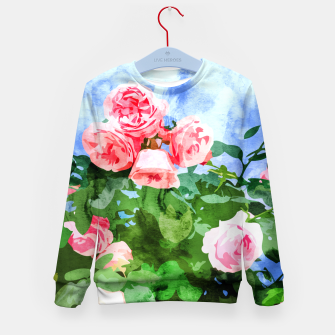 Thumbnail image of Sweet Rose Garden, Nature Botanical Watercolor Painting, Summer Floral Plants Meadow Kid's sweater, Live Heroes
