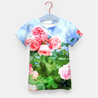 Thumbnail image of Sweet Rose Garden, Nature Botanical Watercolor Painting, Summer Floral Plants Meadow Kid's t-shirt, Live Heroes
