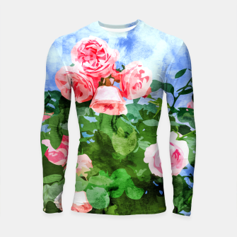 Thumbnail image of Sweet Rose Garden, Nature Botanical Watercolor Painting, Summer Floral Plants Meadow Longsleeve rashguard , Live Heroes