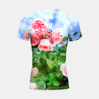 Thumbnail image of Sweet Rose Garden, Nature Botanical Watercolor Painting, Summer Floral Plants Meadow Shortsleeve rashguard, Live Heroes