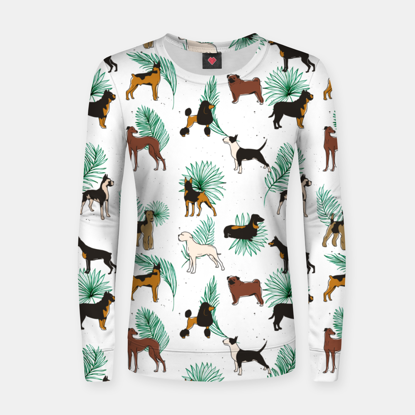 Image of Miracles with paws, Tropical Cute Quirky Dog Pets Illustration, Whimsical Dachshund Pug Poodle Palm Women sweater - Live Heroes