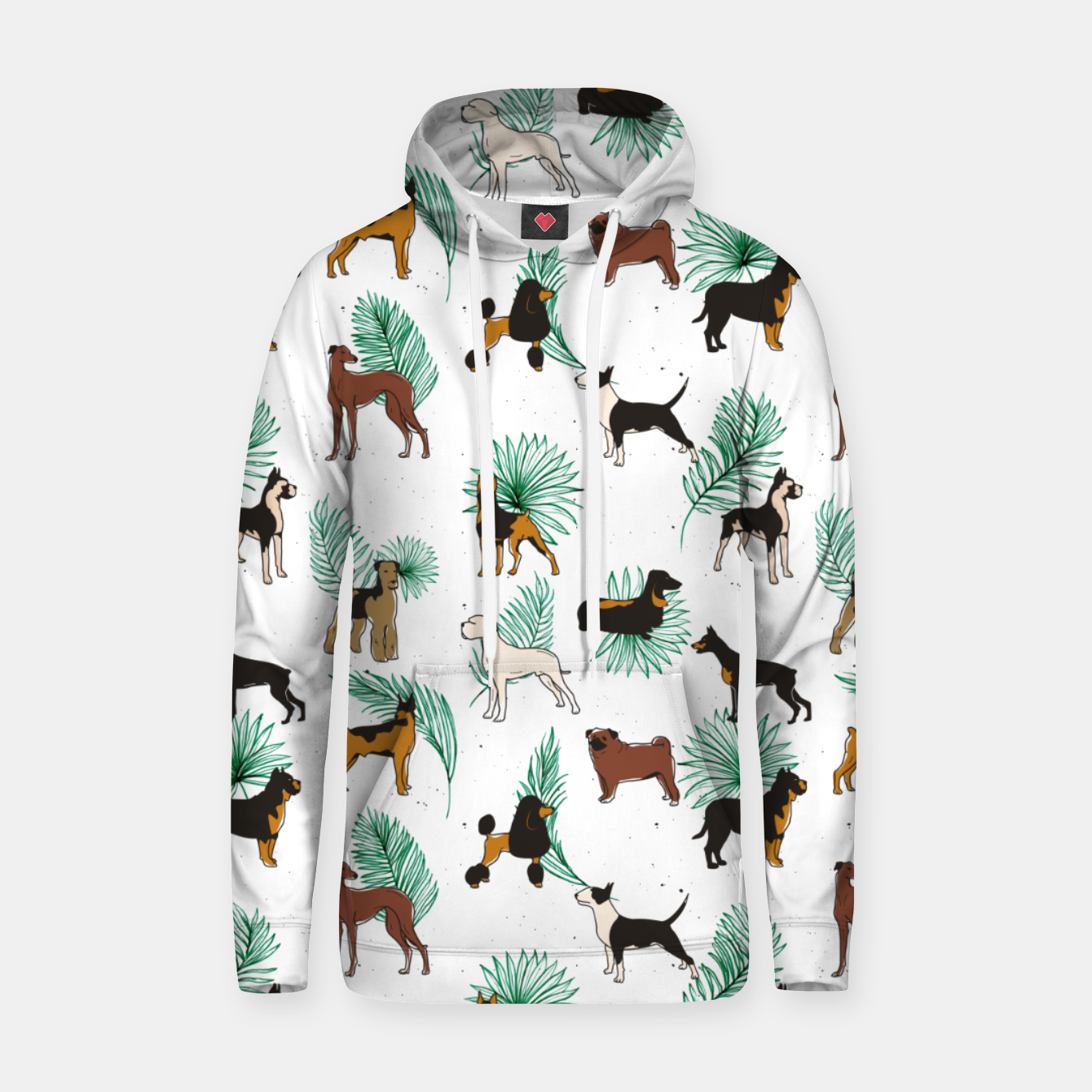 Image of Miracles with paws, Tropical Cute Quirky Dog Pets Illustration, Whimsical Dachshund Pug Poodle Palm Hoodie - Live Heroes