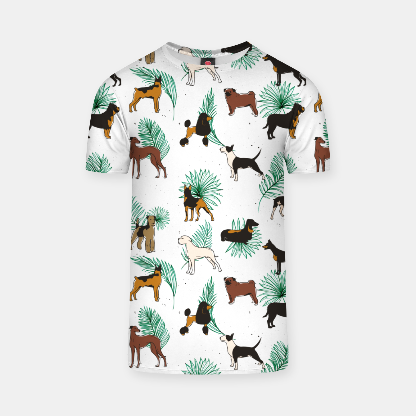 Image of Miracles with paws, Tropical Cute Quirky Dog Pets Illustration, Whimsical Dachshund Pug Poodle Palm T-shirt - Live Heroes