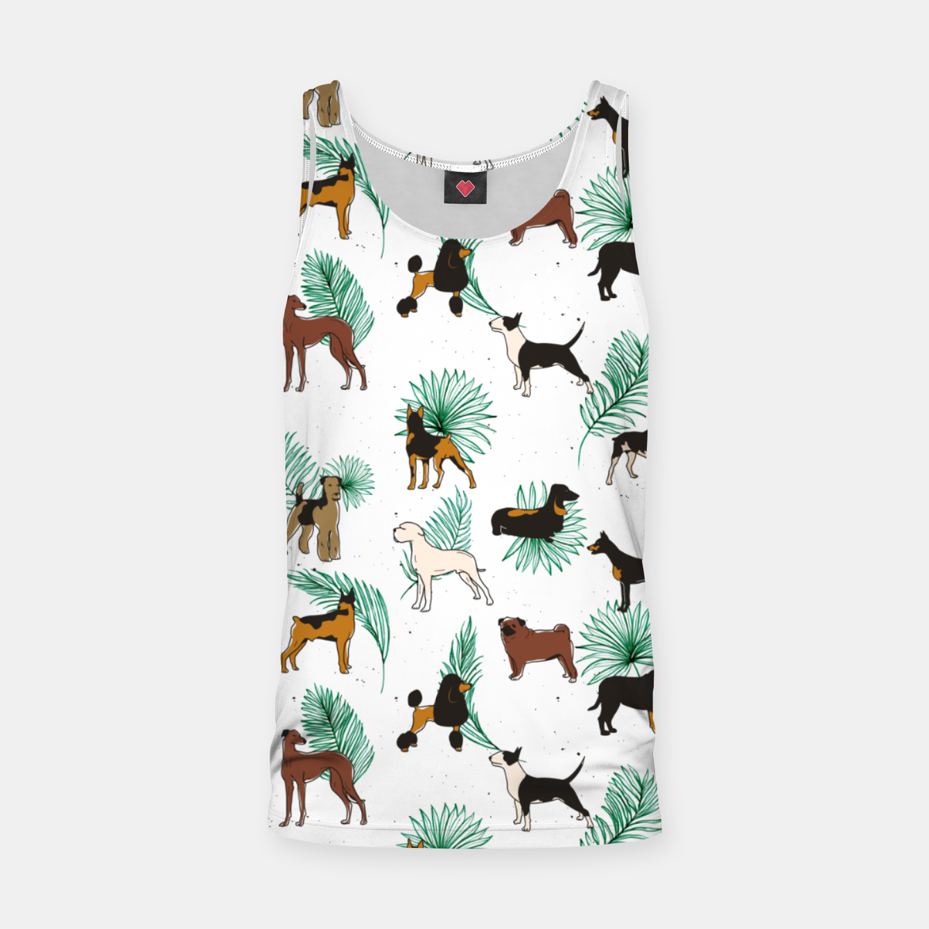 Image of Miracles with paws, Tropical Cute Quirky Dog Pets Illustration, Whimsical Dachshund Pug Poodle Palm Tank Top - Live Heroes