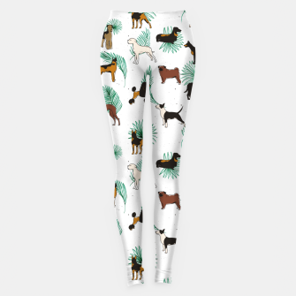 Miniaturka Miracles with paws, Tropical Cute Quirky Dog Pets Illustration, Whimsical Dachshund Pug Poodle Palm Leggings, Live Heroes