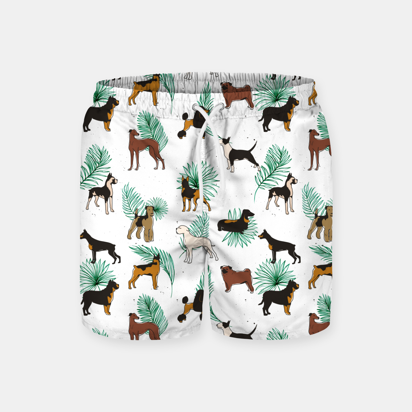 Image of Miracles with paws, Tropical Cute Quirky Dog Pets Illustration, Whimsical Dachshund Pug Poodle Palm Swim Shorts - Live Heroes