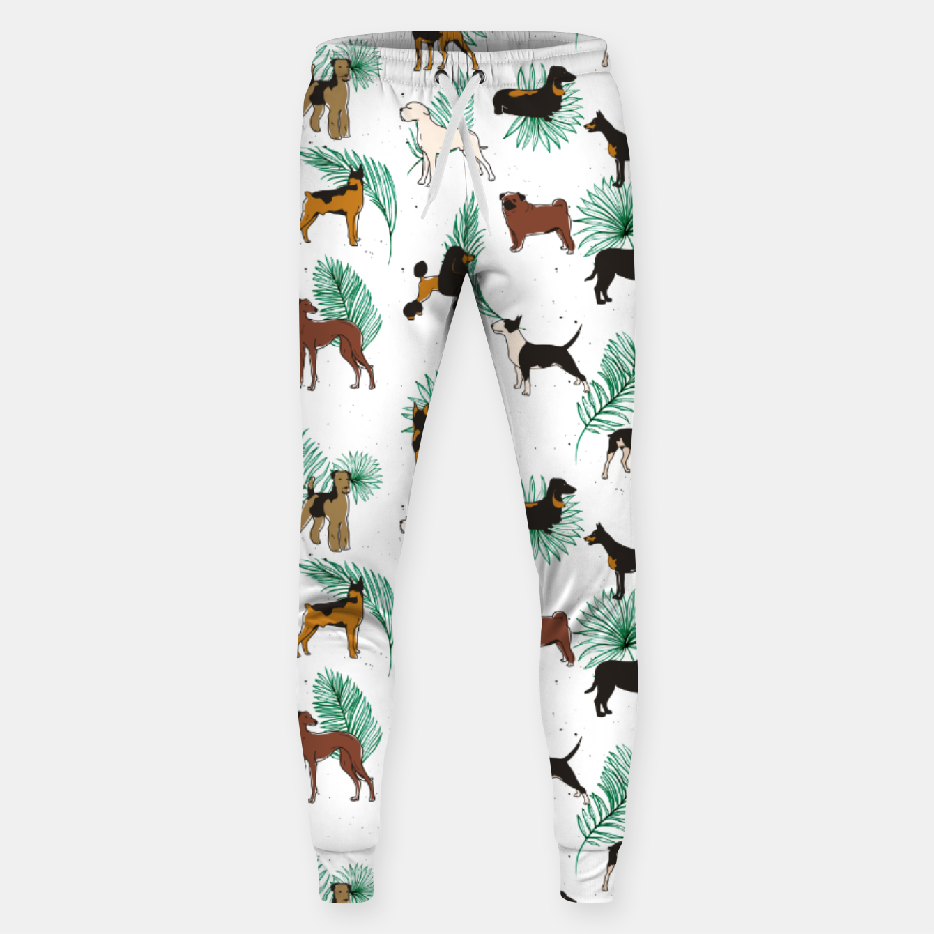 Image of Miracles with paws, Tropical Cute Quirky Dog Pets Illustration, Whimsical Dachshund Pug Poodle Palm Sweatpants - Live Heroes