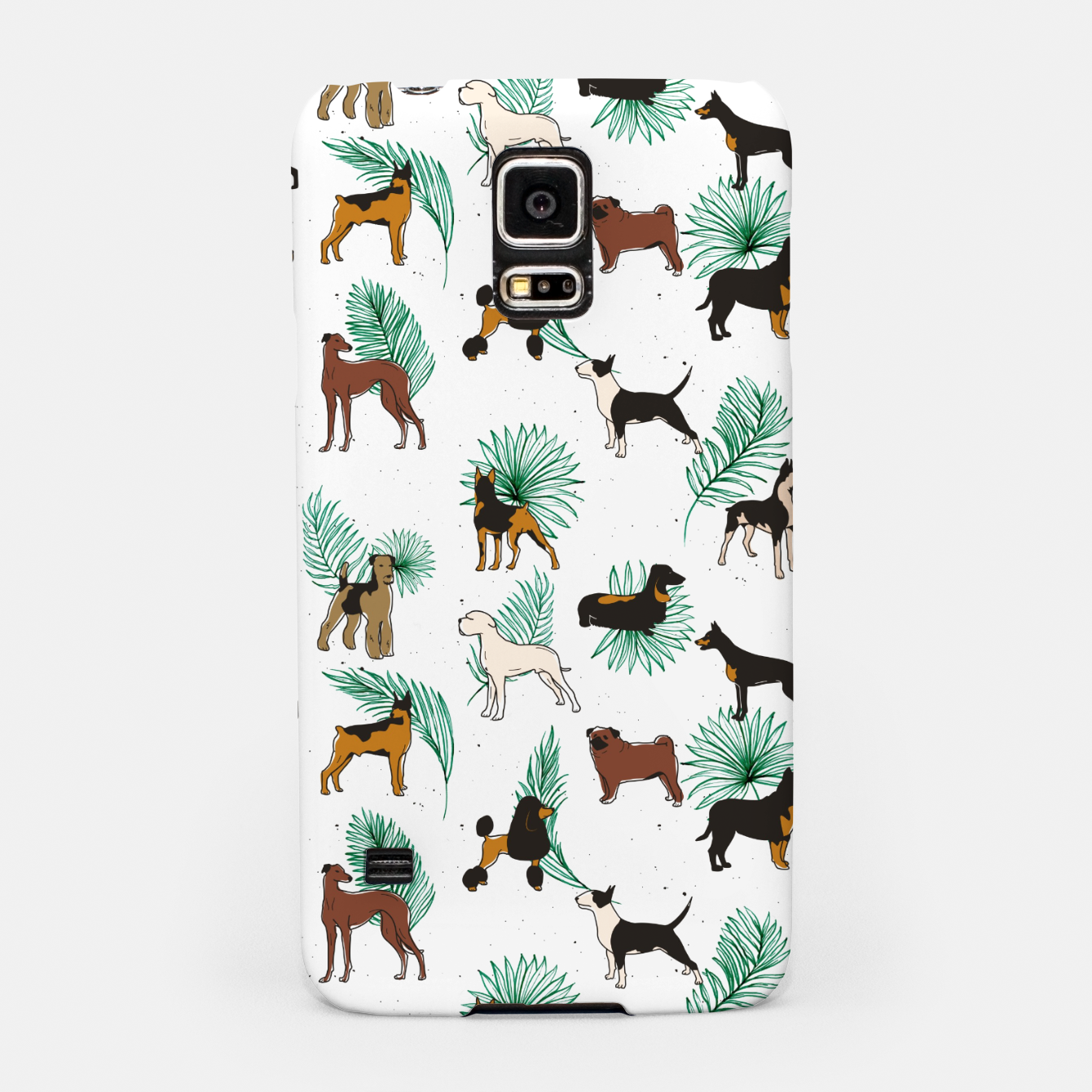 Image of Miracles with paws, Tropical Cute Quirky Dog Pets Illustration, Whimsical Dachshund Pug Poodle Palm Samsung Case - Live Heroes
