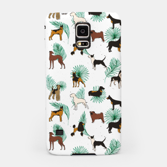 Miniaturka Miracles with paws, Tropical Cute Quirky Dog Pets Illustration, Whimsical Dachshund Pug Poodle Palm Samsung Case, Live Heroes