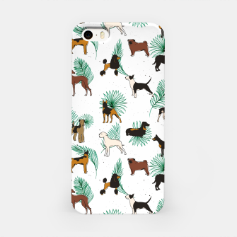 Miniaturka Miracles with paws, Tropical Cute Quirky Dog Pets Illustration, Whimsical Dachshund Pug Poodle Palm iPhone Case, Live Heroes