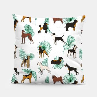 Miniaturka Miracles with paws, Tropical Cute Quirky Dog Pets Illustration, Whimsical Dachshund Pug Poodle Palm Pillow, Live Heroes