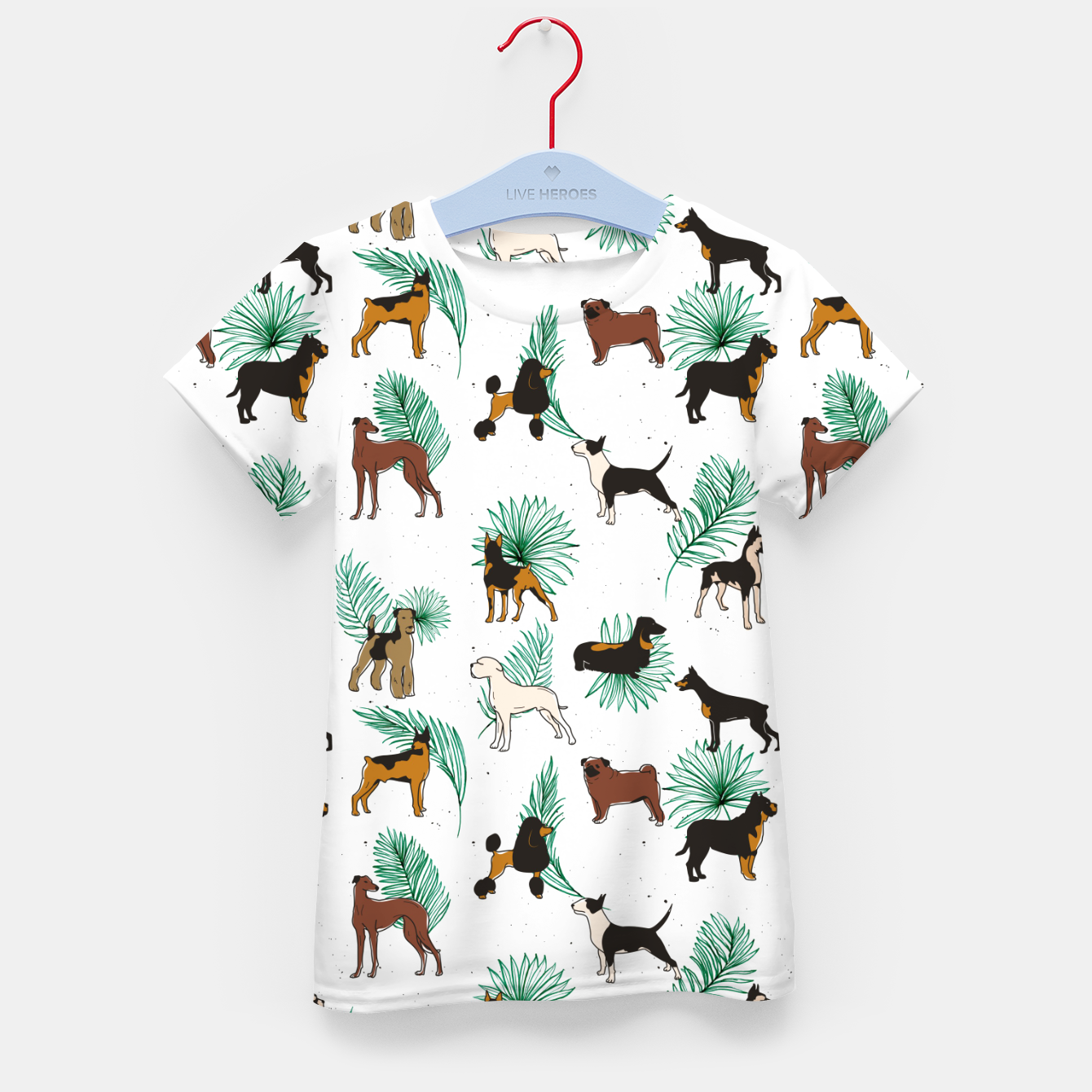 Image of Miracles with paws, Tropical Cute Quirky Dog Pets Illustration, Whimsical Dachshund Pug Poodle Palm Kid's t-shirt - Live Heroes