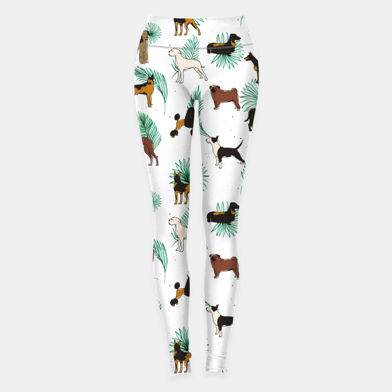 Image of Miracles with paws, Tropical Cute Quirky Dog Pets Illustration, Whimsical Dachshund Pug Poodle Palm Leggings - Live Heroes