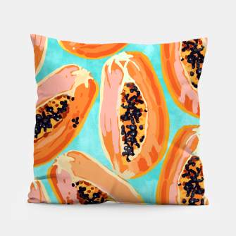 Miniaturka Big Papaya Watercolor Painting, Tropical Fruits Illustration, Colorful Summer Eclectic Food  Pillow, Live Heroes