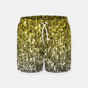 Thumbnail image of Dark ultimate gray illuminating yellow sparkles ombre Swim Shorts, Live Heroes