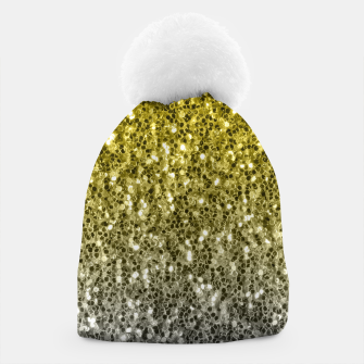 Thumbnail image of Dark ultimate gray illuminating yellow sparkles ombre Beanie, Live Heroes