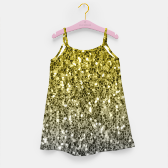 Thumbnail image of Dark ultimate gray illuminating yellow sparkles ombre Girl's dress, Live Heroes