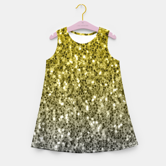 Thumbnail image of Dark ultimate gray illuminating yellow sparkles ombre Girl's summer dress, Live Heroes