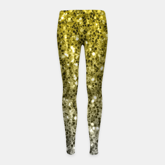 Thumbnail image of Dark ultimate gray illuminating yellow sparkles ombre Girl's leggings, Live Heroes
