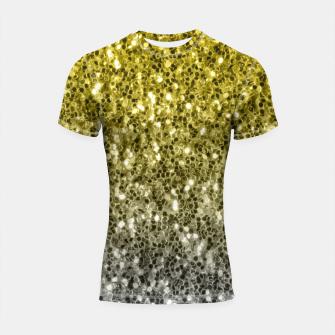 Thumbnail image of Dark ultimate gray illuminating yellow sparkles ombre Shortsleeve rashguard, Live Heroes