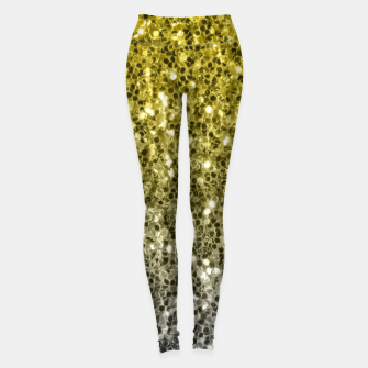 Thumbnail image of Dark ultimate gray illuminating yellow sparkles ombre Leggings, Live Heroes