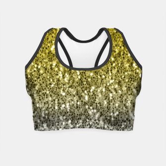 Thumbnail image of Dark ultimate gray illuminating yellow sparkles ombre Crop Top, Live Heroes