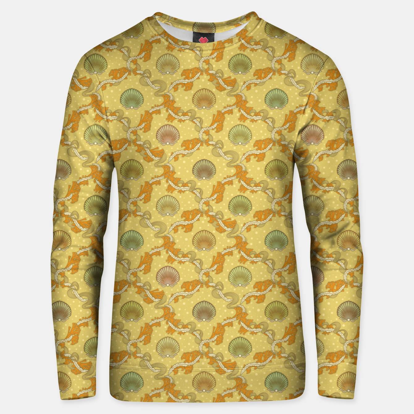 Foto The elegant grace of nature: scallop shells and sea weeds Unisex sweater - Live Heroes
