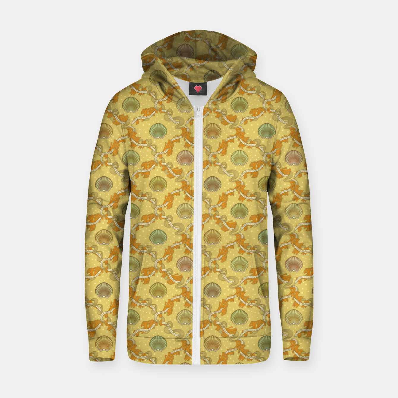 Image of The elegant grace of nature: scallop shells and sea weeds Zip up hoodie - Live Heroes