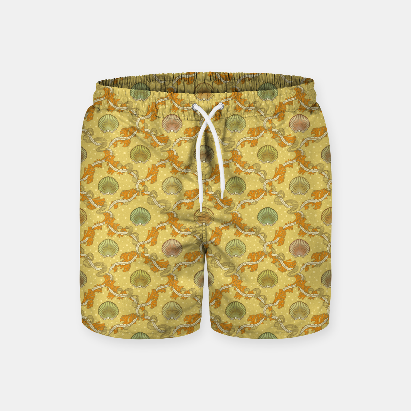 Image of The elegant grace of nature: scallop shells and sea weeds Swim Shorts - Live Heroes