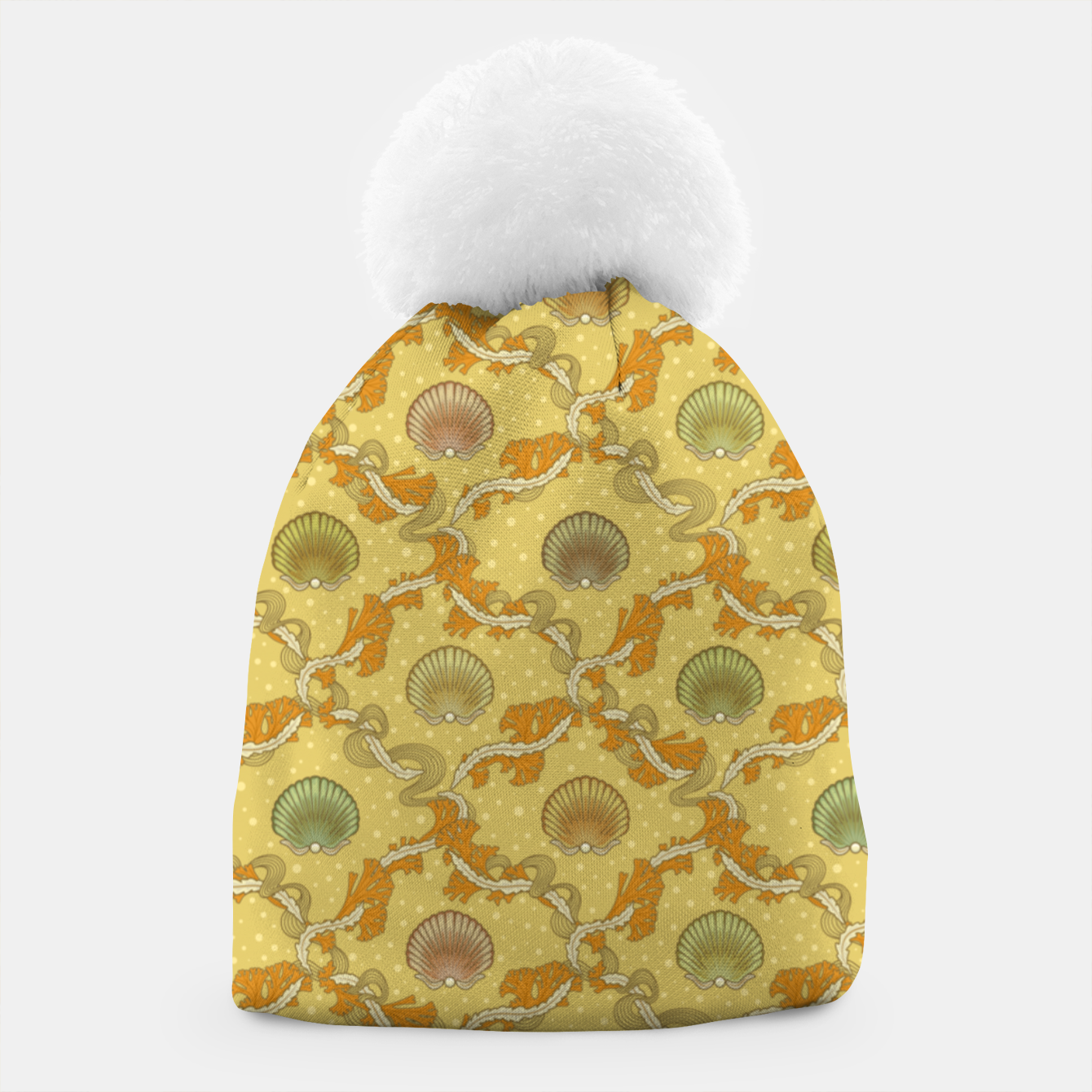 Image of The elegant grace of nature: scallop shells and sea weeds Beanie - Live Heroes