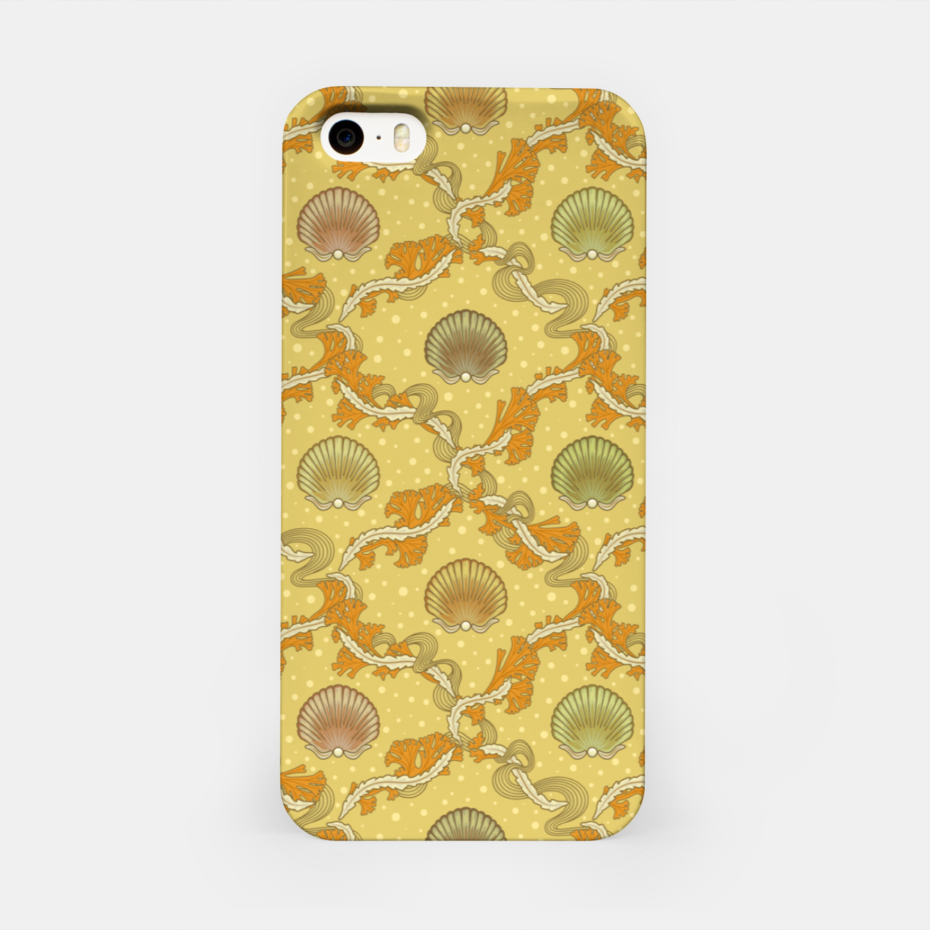 Image of The elegant grace of nature: scallop shells and sea weeds iPhone Case - Live Heroes