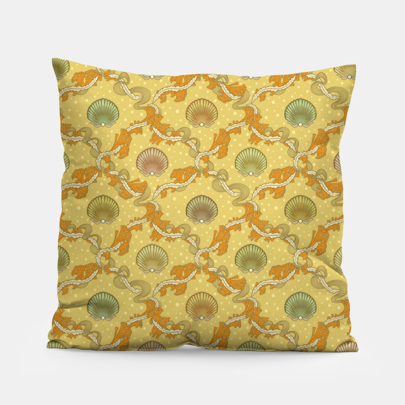 Foto The elegant grace of nature: scallop shells and sea weeds Pillow - Live Heroes