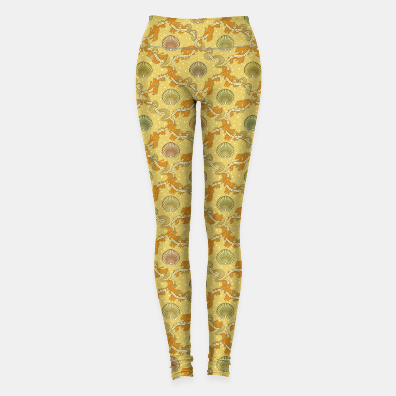 Image of The elegant grace of nature: scallop shells and sea weeds Leggings - Live Heroes
