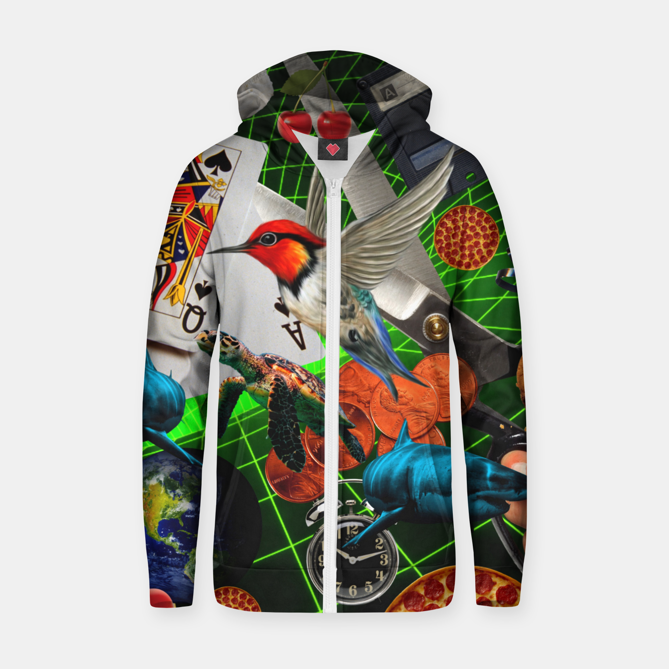 Image of THROUGH SPACE AND TIME  Zip up hoodie - Live Heroes