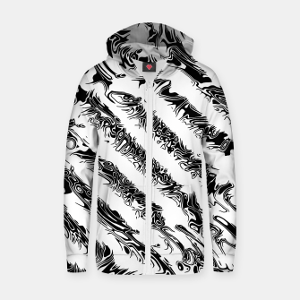 Thumbnail image of White and Black Tribal Stripe Unisex Zip-Up Hoodie, Live Heroes
