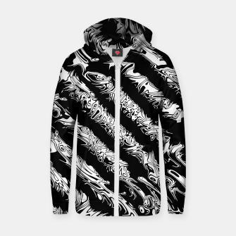 Thumbnail image of Black and White Tribal Stripe Unisex Zip-Up Hoodie, Live Heroes