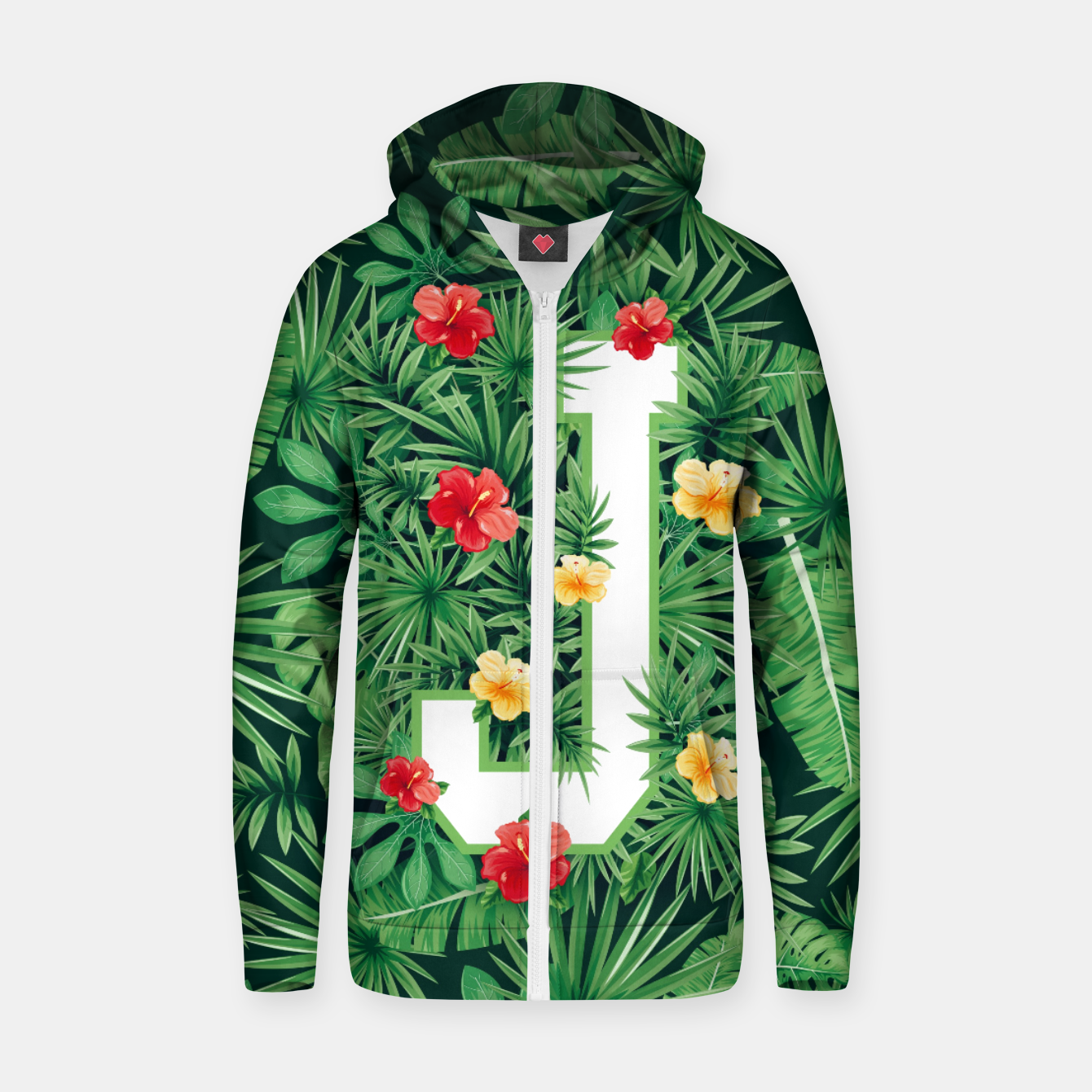 Image of Capital Letter J Alphabet Monogram Initial Flower Gardener Zip up hoodie - Live Heroes