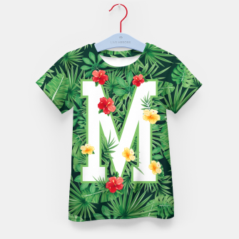 Capital Letter M Alphabet Monogram Initial Flower Gardener Kid's t-shirt thumbnail image