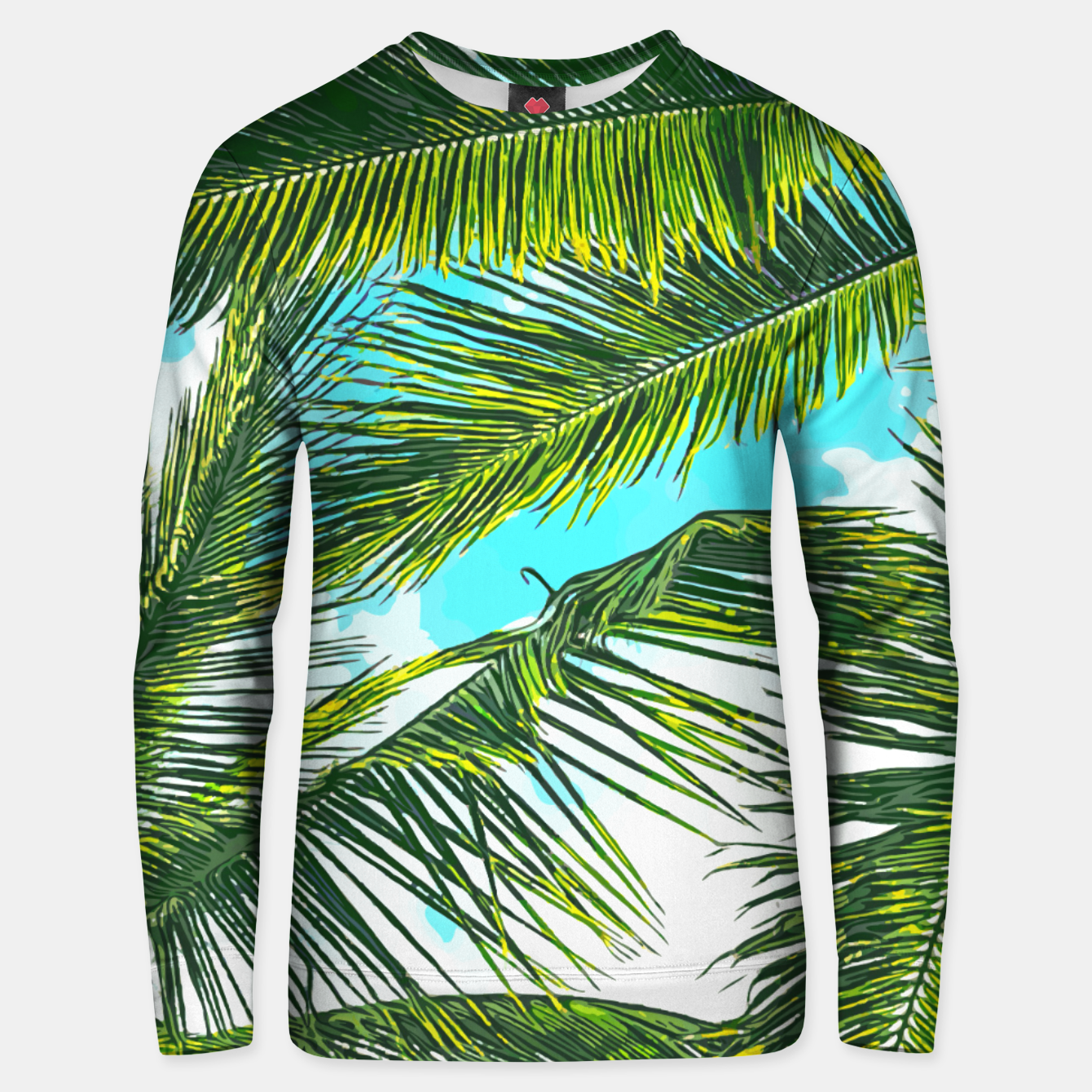 Image of Life Under Palm Trees, Colorful Bohemian Beachy, Tropical Travel Nature Graphic Design  Unisex sweater - Live Heroes