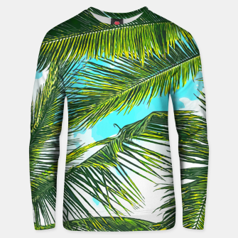Miniatur Life Under Palm Trees, Colorful Bohemian Beachy, Tropical Travel Nature Graphic Design  Unisex sweater, Live Heroes