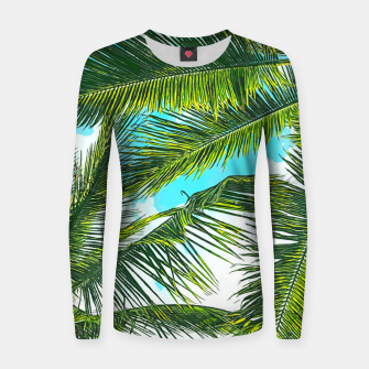 Miniatur Life Under Palm Trees, Colorful Bohemian Beachy, Tropical Travel Nature Graphic Design  Women sweater, Live Heroes